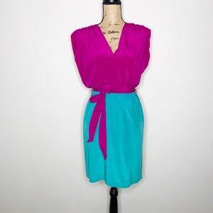 Presley Skye April Silk Faux Wrap Dress Size S